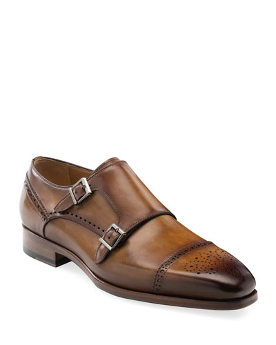 Men's Nelson Double-Monk Brogue Leather Loafers