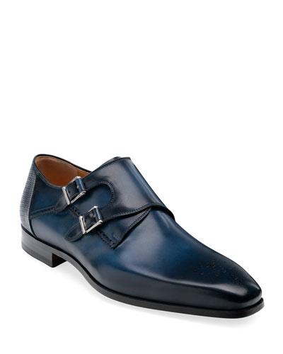 Men's Derek Double-Monk Brogue Leather Loafers