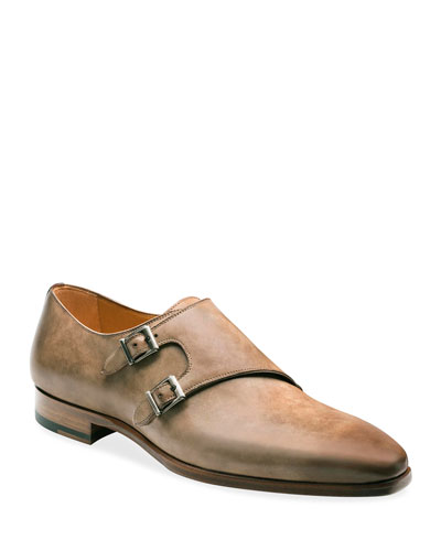 Men's Ezra Double-Monk Burnished Leather Loafers