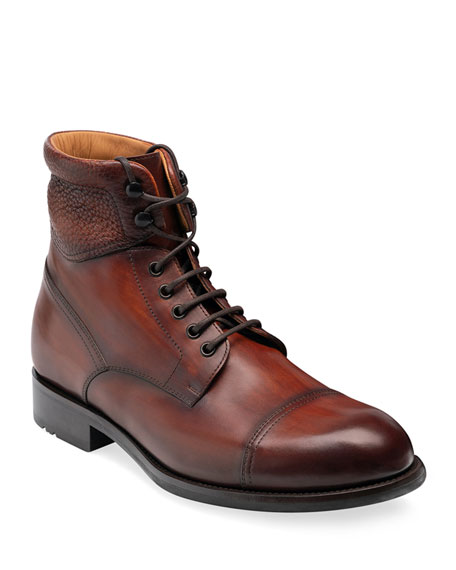 Magnanni Men's Peyton II Burnished Leather Lace-Up Boots