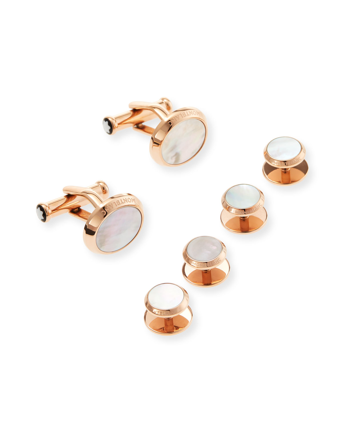 Montblanc Accessories MEN'S ROSE GOLD MOTHER-OF-PEARL STUD & CUFFLINK SET