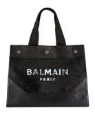 Balmain Men's Soft Leather Logo Tote Bag