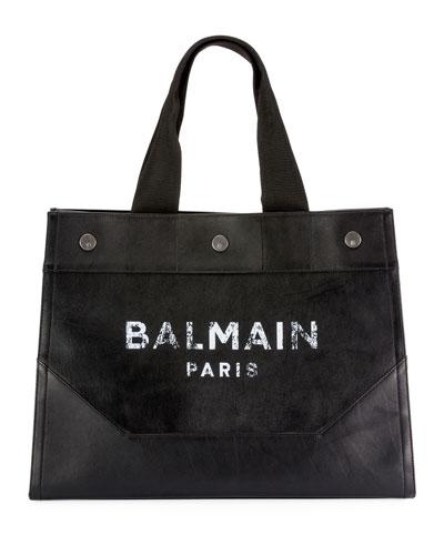 Men's Soft Leather Logo Tote Bag