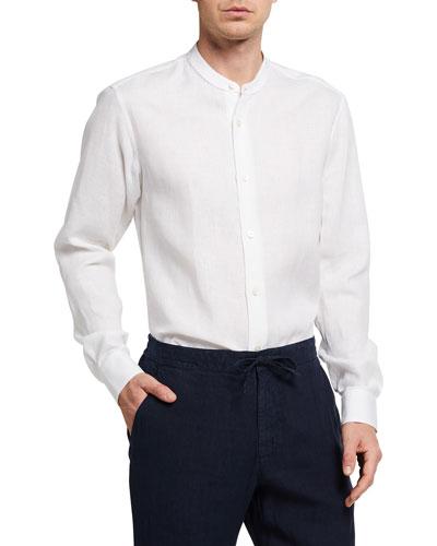Men's Banded-Collar Linen Sport Shirt