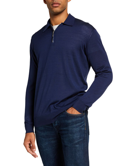 Stefano Ricci Men's Silk Quarter-Zip Polo Shirt w/ Crocodile Detail