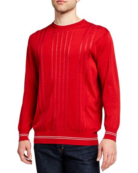 Stefano Ricci Men's Striped Cotton-Silk Crewneck Sweater
