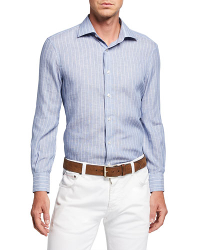 Men's Pinstriped Linen Sport Shirt
