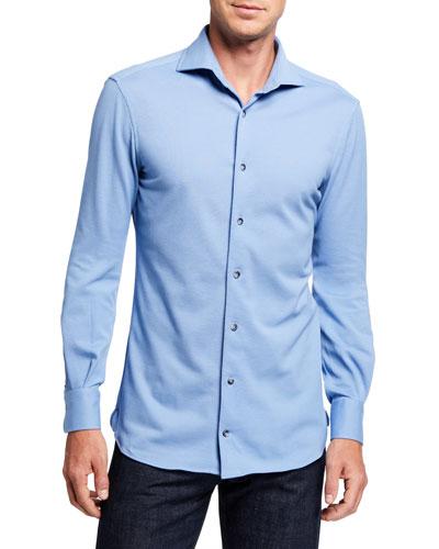 Men's Solid Pique Sport Shirt, Light Blue
