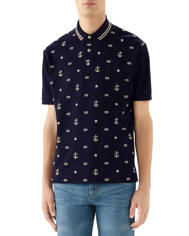 Gucci T-shirts MEN'S GG ANCHORS STRETCH-COTTON POLO SHIRT