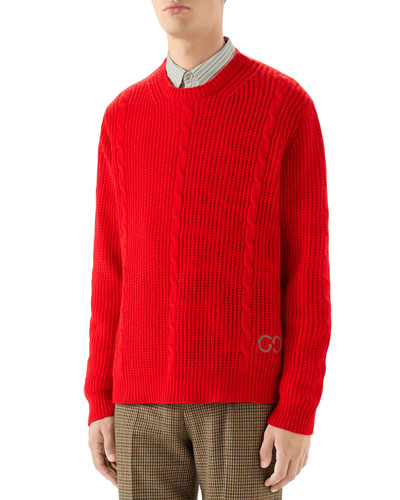 Men's Ribbed Wool Sweater w/ Cable-Knit Detail