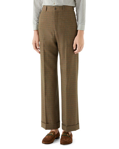 Men's Tweed Wide-Leg Cuffed Trousers