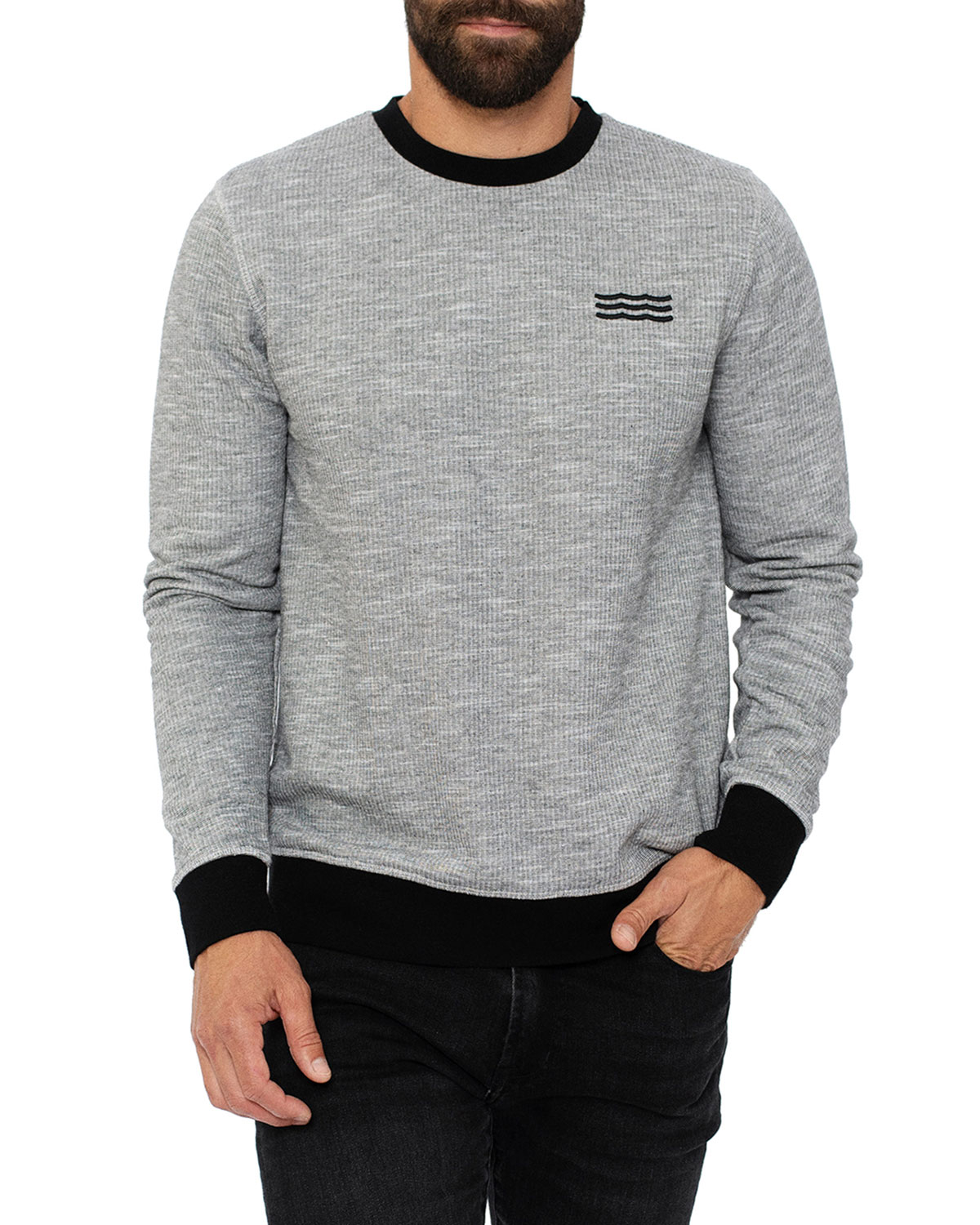 Sol Angeles  MEN'S BANDED FRENCH TERRY SWEATER
