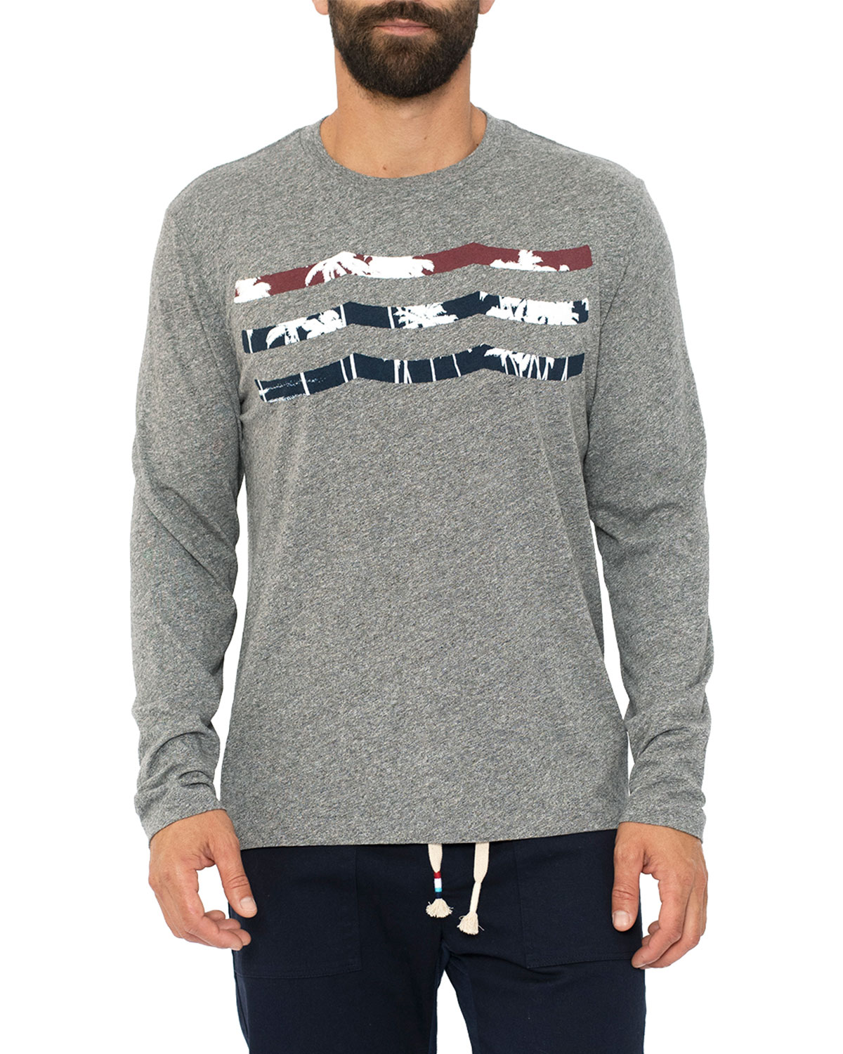 Sol Angeles T-shirts MEN'S PATRIOT PALM WAVES LONG-SLEEVE HEATHERED T-SHIRT