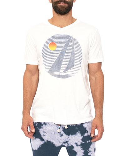 Men's Circle Sail Graphic V-Neck T-Shirt