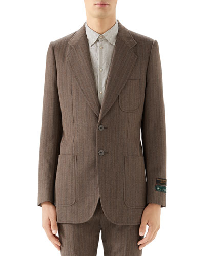 Men's Patch-Pocket Tweed Two-Button Jacket