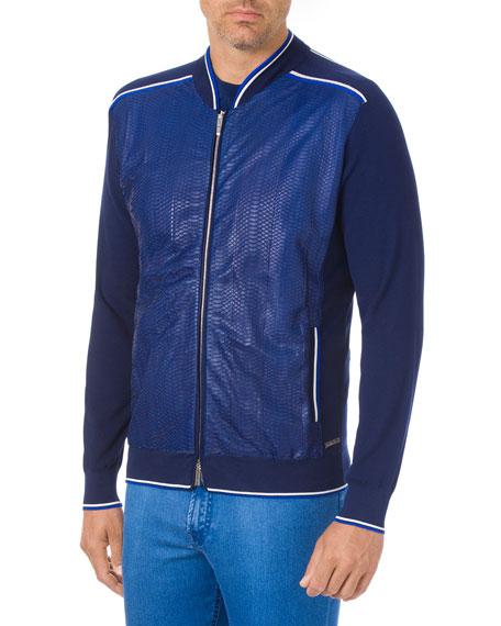 Stefano Ricci Men's Knit Zip Blouson Jacket With Snake Front
