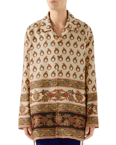 Men's Oversized Paisley Sport Shirt