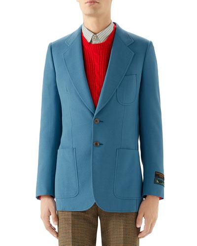 Men's Solid Wool-Blend Sport Coat