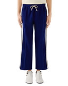 Gucci Men's GG-Tape Cropped Wide-Leg Track Pants