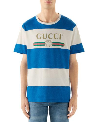 Men's Nautical Stripe Jersey Logo T-Shirt