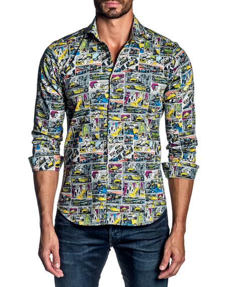 Jared Lang Men's Graphic Comic Sport Shirt