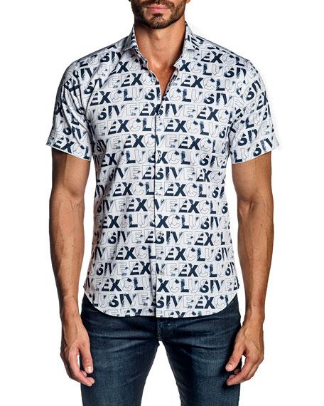 Jared Lang Men's Exclusive Typographic Short-Sleeve Sport Shirt