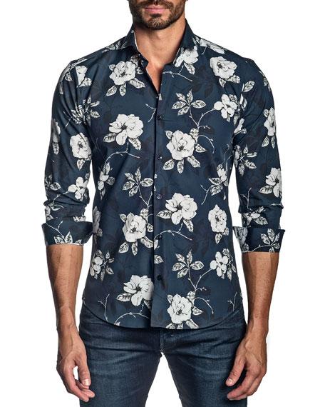 Jared Lang Men's Rose Floral Cotton Sport Shirt