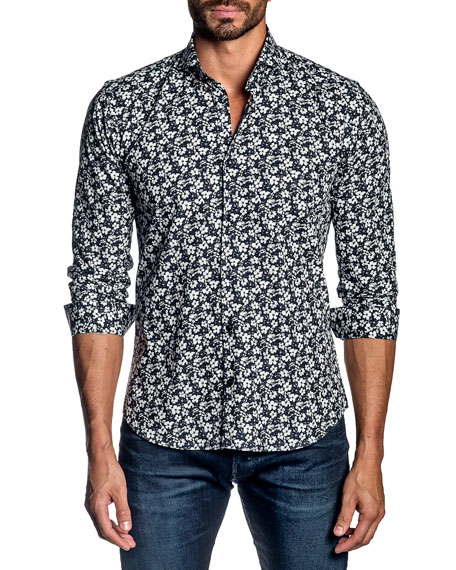 Jared Lang Men's Mini Floral Cotton Sport Shirt