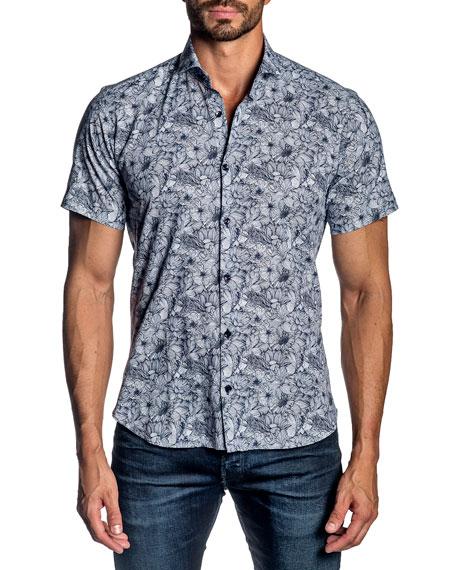 Jared Lang Men's Floral Short-Sleeve Sport Shirt