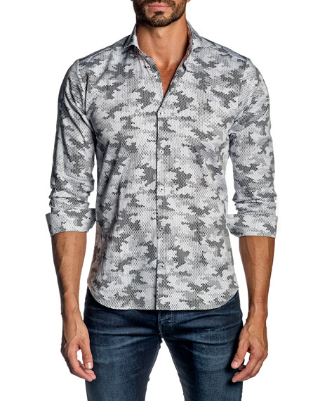 Jared Lang Men's Graphic Camo Sport Shirt