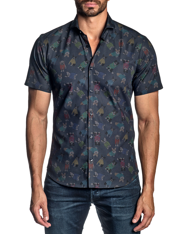 Men's Short-Sleeve Dog-Print Sport Shirt