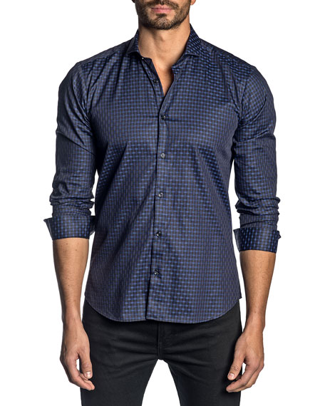 Jared Lang Men's Patterned Cotton Sport Shirt