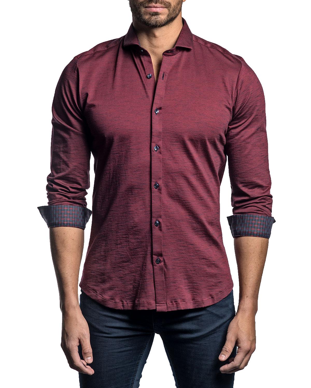 Men's Solid Contrast-Reverse Sport Shirt