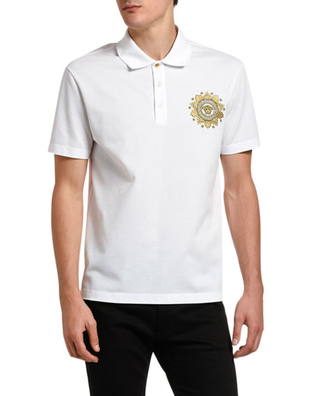 Versace Men's Baroque Medusa Pique Polo Shirt