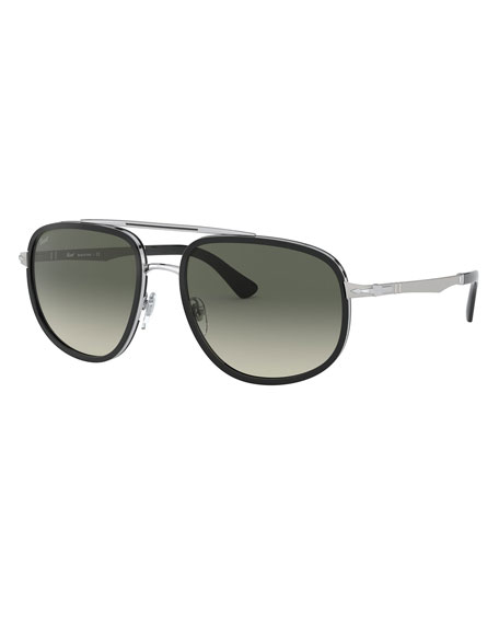 Persol Men's Steel Gradient Aviator Sunglasses