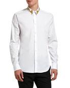 Versace Men's Baroque-Collar Solid Sport Shirt