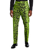 Versace Men's Animal-Print Neon Pants