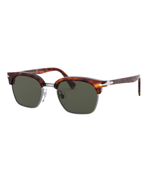 Men's Tortoiseshell Half-Rim Polarized Sunglasses