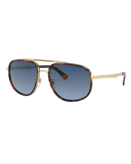 Persol Men's Tortoiseshell Steel Gradient Aviator Sunglasses