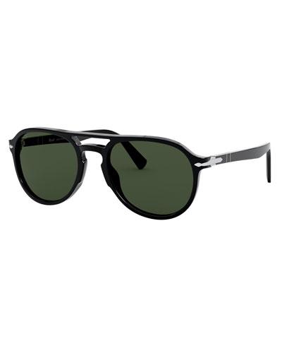 Men's Aviator Double-Bridge Acetate Sunglasses