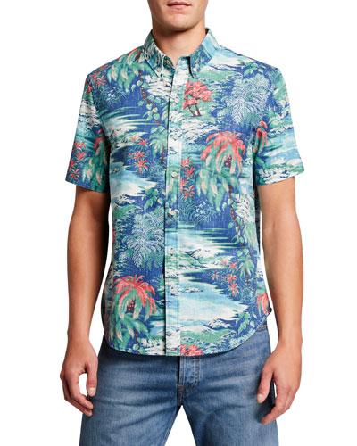 Men's Waterfall Valley Tailored Short-Sleeve Sport Shirt