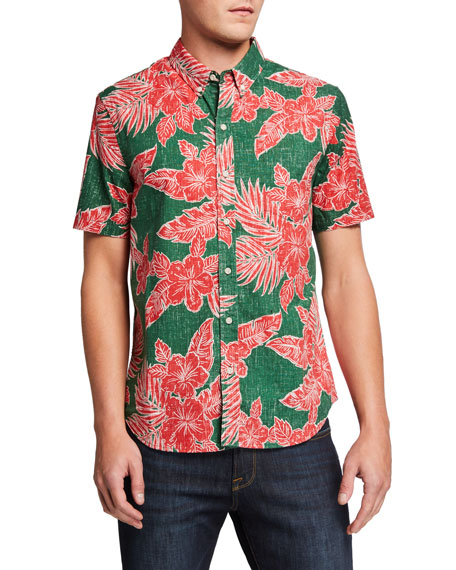 Reyn Spooner Men's Hibiscus Fronds Tailored Sport Shirt