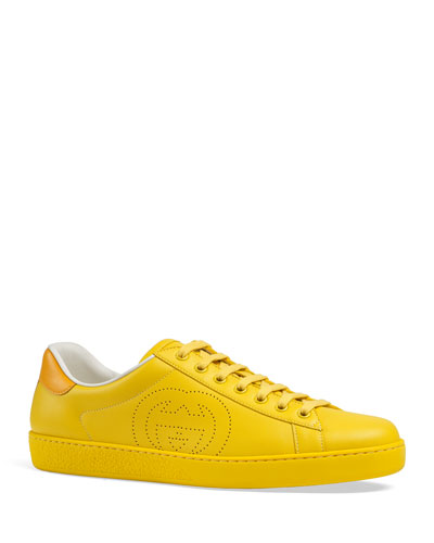 Men's New Ace Perforated GG Leather Sneakers