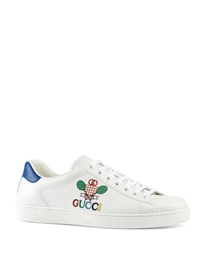 Men's New Ace Embroidered Leather Sneakers