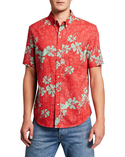 Men's 50th State Floral Tailored Short-Sleeve Sport Shirt
