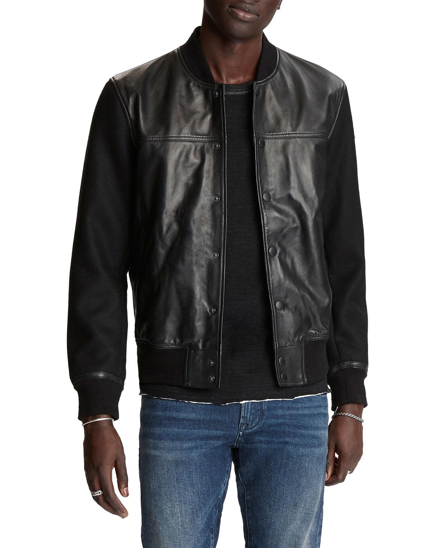 John Varvatos Men's Billy Sheepskin Varsity Jacket In Black