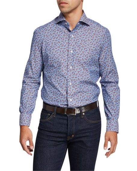 Isaia Men's Floral Chambray Sport Shirt