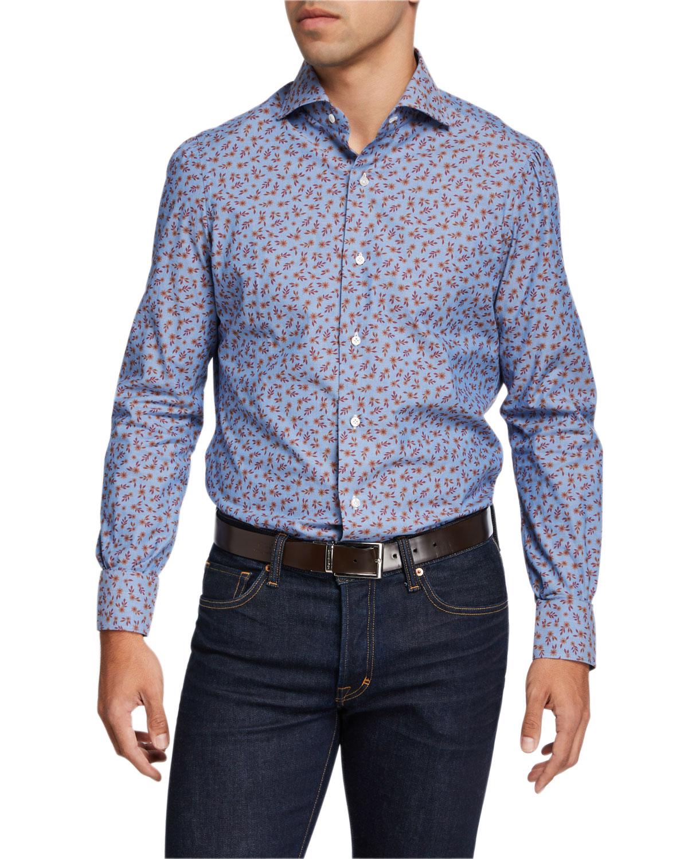 Men's Floral Chambray Sport Shirt