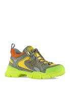 Gucci Men's Flashtrek Mixed-Media Neon Lug-Sole Sneakers