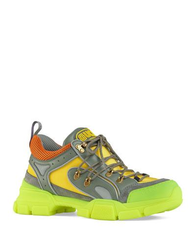 Men's Flashtrek Mixed-Media Neon Lug-Sole Sneakers